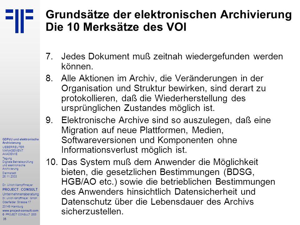 35 GDPdU und elektronische Archivierung UEBERREUTER MANAGEMENT AKADEMIE Tagung Digitale Betriebsprüfung und elektronische Archivierung Darmstadt 26.11
