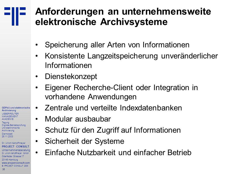 36 GDPdU und elektronische Archivierung UEBERREUTER MANAGEMENT AKADEMIE Tagung Digitale Betriebsprüfung und elektronische Archivierung Darmstadt 26.11