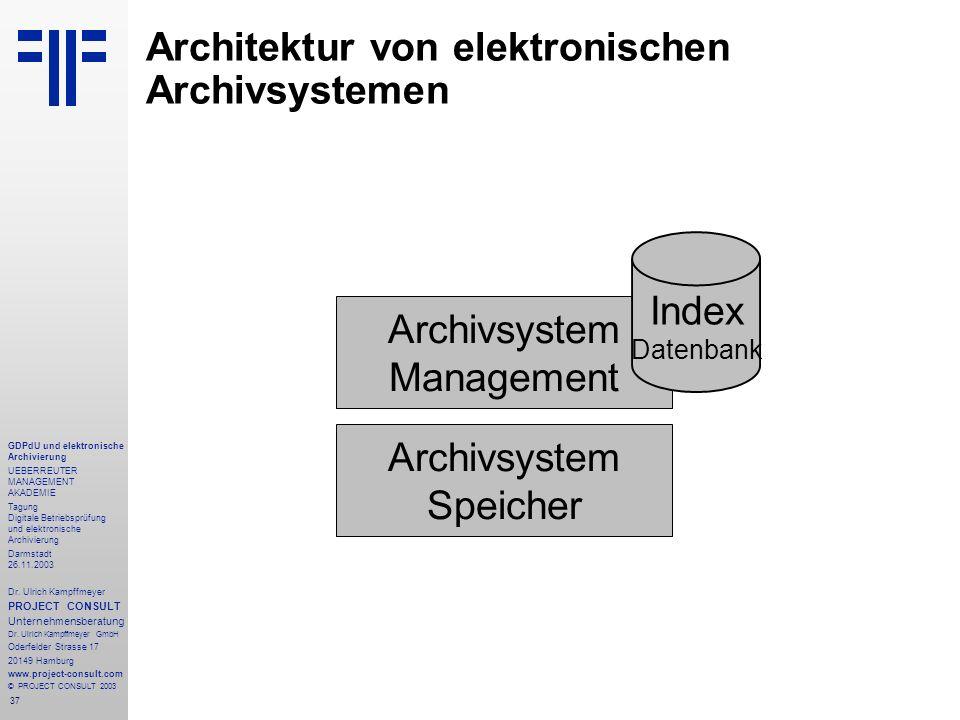 37 GDPdU und elektronische Archivierung UEBERREUTER MANAGEMENT AKADEMIE Tagung Digitale Betriebsprüfung und elektronische Archivierung Darmstadt 26.11