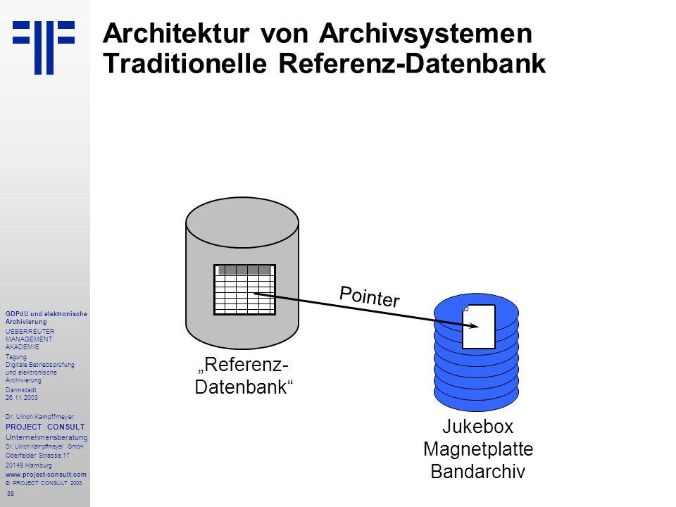 38 GDPdU und elektronische Archivierung UEBERREUTER MANAGEMENT AKADEMIE Tagung Digitale Betriebsprüfung und elektronische Archivierung Darmstadt 26.11