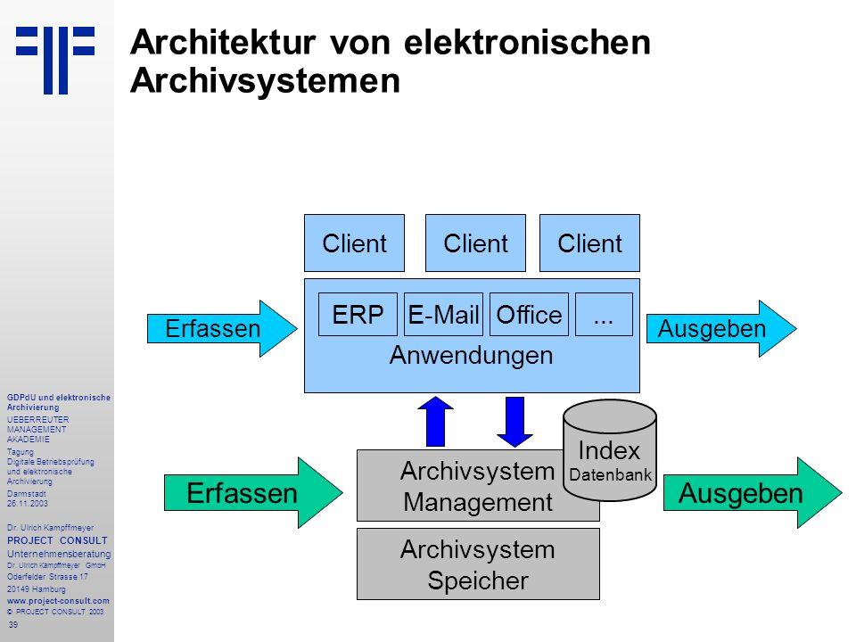 39 GDPdU und elektronische Archivierung UEBERREUTER MANAGEMENT AKADEMIE Tagung Digitale Betriebsprüfung und elektronische Archivierung Darmstadt 26.11