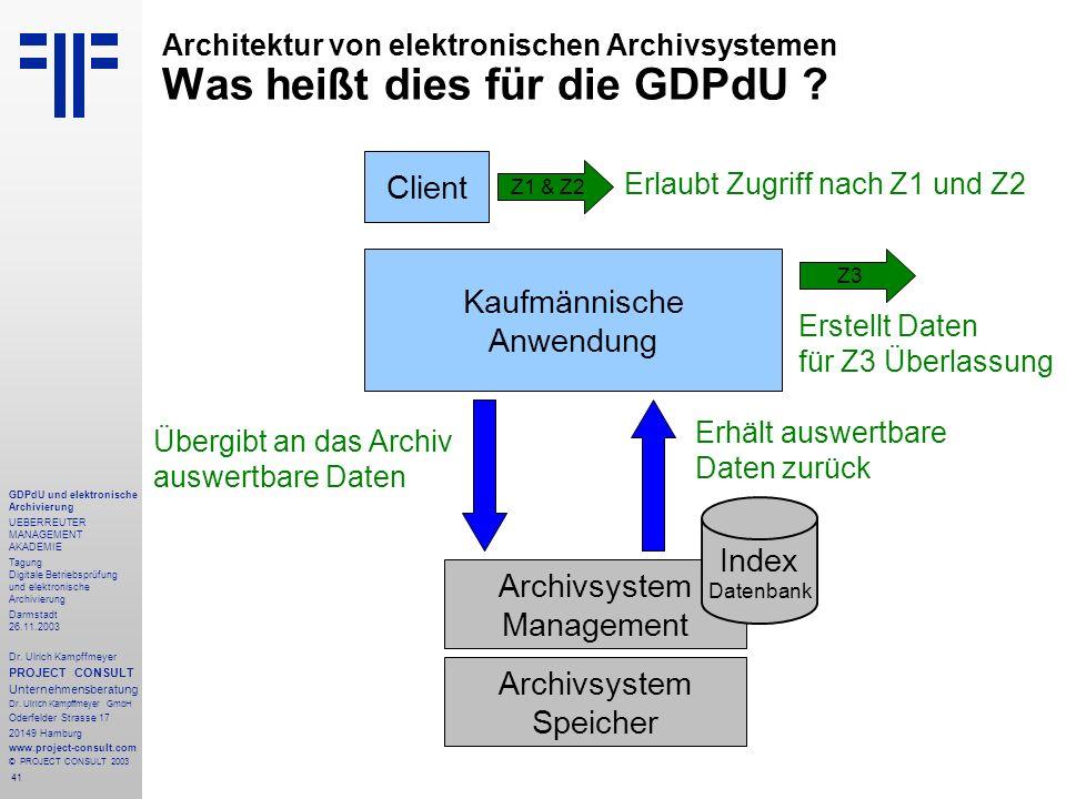 41 GDPdU und elektronische Archivierung UEBERREUTER MANAGEMENT AKADEMIE Tagung Digitale Betriebsprüfung und elektronische Archivierung Darmstadt 26.11