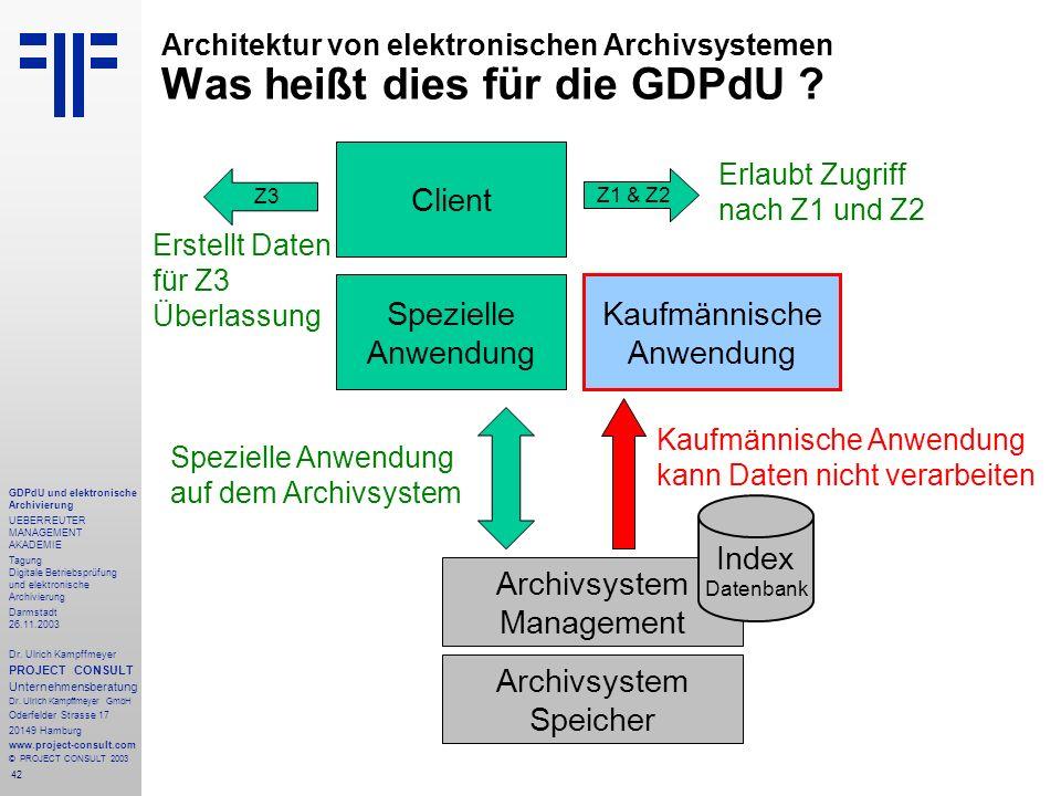 42 GDPdU und elektronische Archivierung UEBERREUTER MANAGEMENT AKADEMIE Tagung Digitale Betriebsprüfung und elektronische Archivierung Darmstadt 26.11