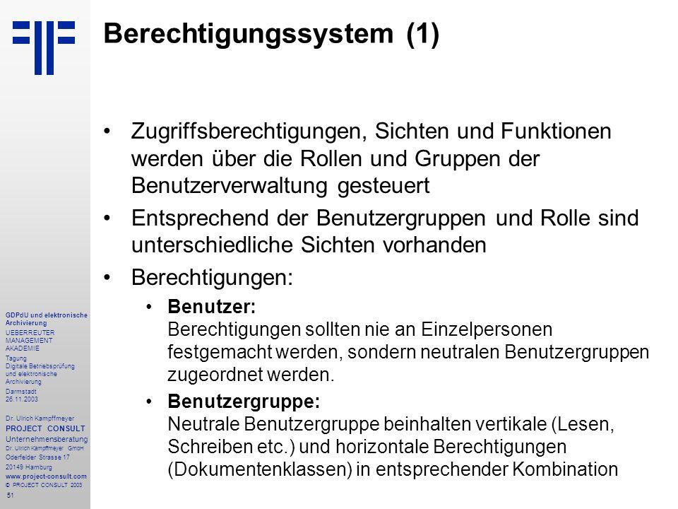 51 GDPdU und elektronische Archivierung UEBERREUTER MANAGEMENT AKADEMIE Tagung Digitale Betriebsprüfung und elektronische Archivierung Darmstadt 26.11
