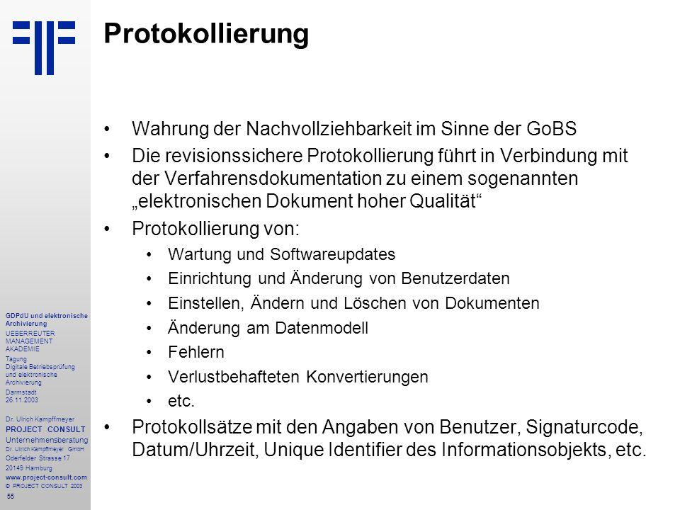 55 GDPdU und elektronische Archivierung UEBERREUTER MANAGEMENT AKADEMIE Tagung Digitale Betriebsprüfung und elektronische Archivierung Darmstadt 26.11