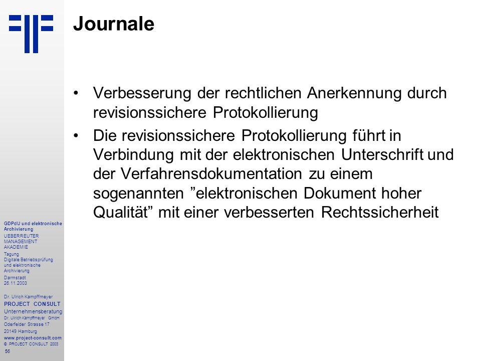 56 GDPdU und elektronische Archivierung UEBERREUTER MANAGEMENT AKADEMIE Tagung Digitale Betriebsprüfung und elektronische Archivierung Darmstadt 26.11