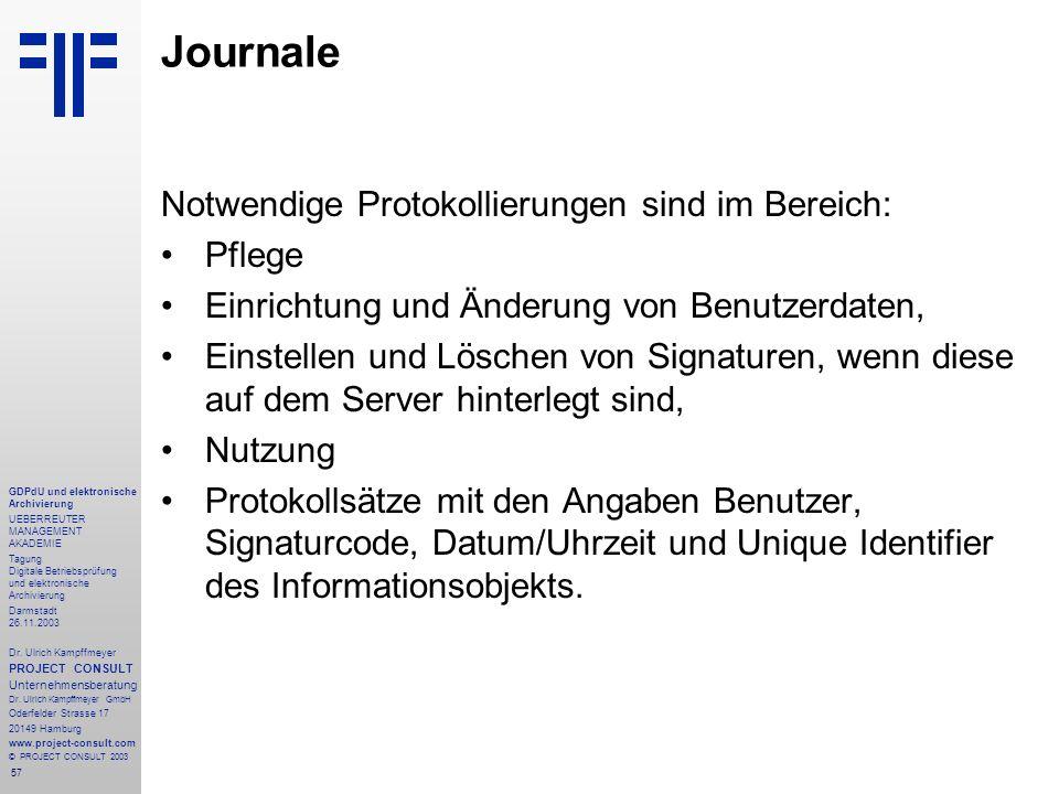 57 GDPdU und elektronische Archivierung UEBERREUTER MANAGEMENT AKADEMIE Tagung Digitale Betriebsprüfung und elektronische Archivierung Darmstadt 26.11
