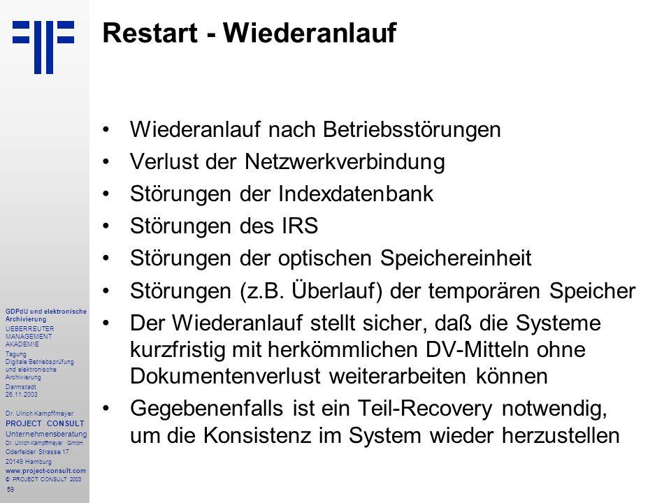 59 GDPdU und elektronische Archivierung UEBERREUTER MANAGEMENT AKADEMIE Tagung Digitale Betriebsprüfung und elektronische Archivierung Darmstadt 26.11