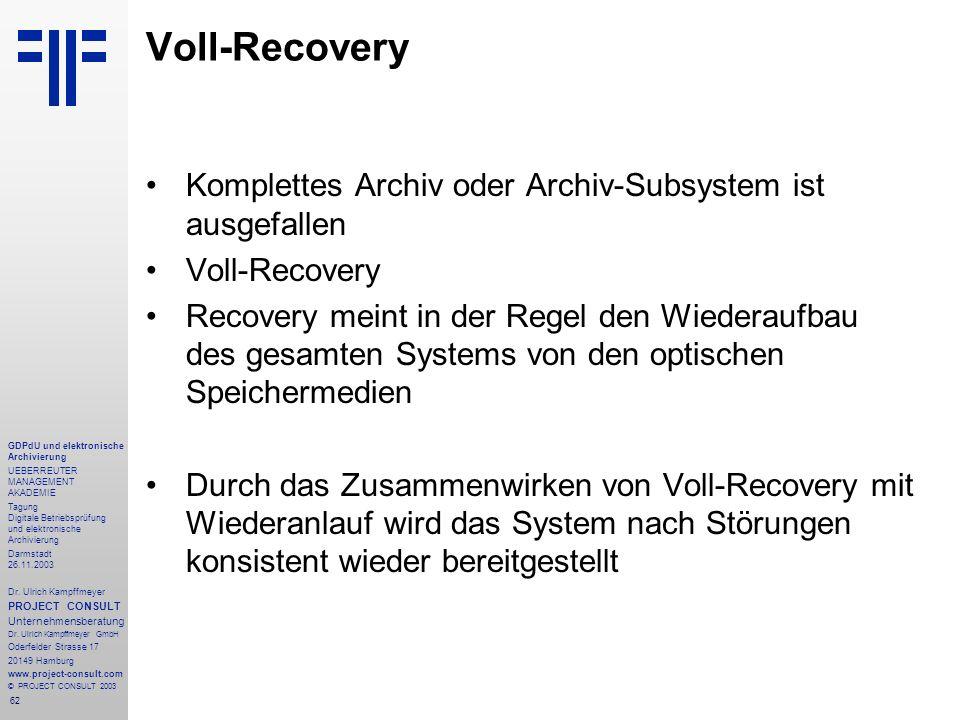 62 GDPdU und elektronische Archivierung UEBERREUTER MANAGEMENT AKADEMIE Tagung Digitale Betriebsprüfung und elektronische Archivierung Darmstadt 26.11