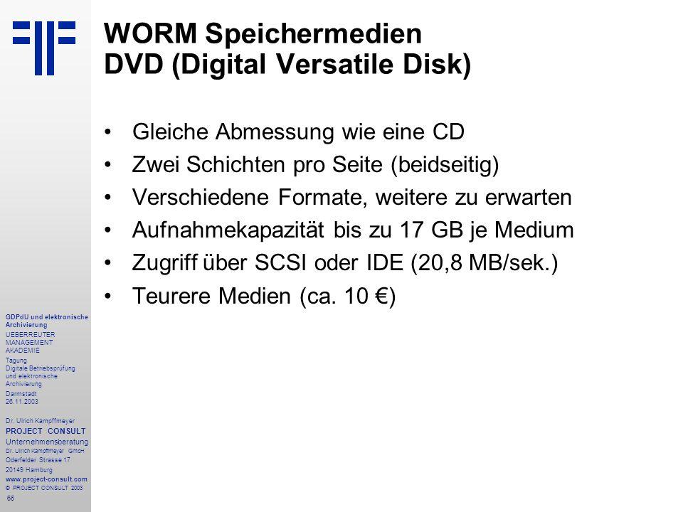 66 GDPdU und elektronische Archivierung UEBERREUTER MANAGEMENT AKADEMIE Tagung Digitale Betriebsprüfung und elektronische Archivierung Darmstadt 26.11