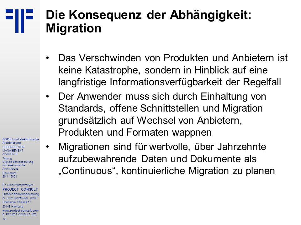 80 GDPdU und elektronische Archivierung UEBERREUTER MANAGEMENT AKADEMIE Tagung Digitale Betriebsprüfung und elektronische Archivierung Darmstadt 26.11