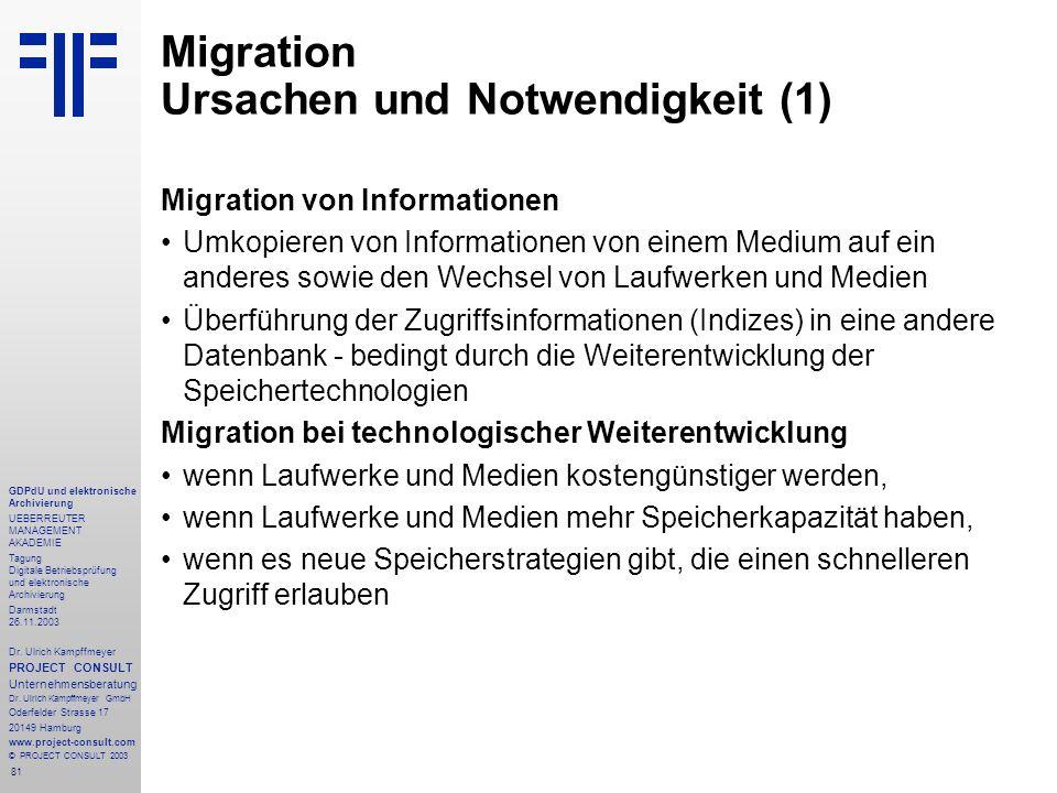 81 GDPdU und elektronische Archivierung UEBERREUTER MANAGEMENT AKADEMIE Tagung Digitale Betriebsprüfung und elektronische Archivierung Darmstadt 26.11