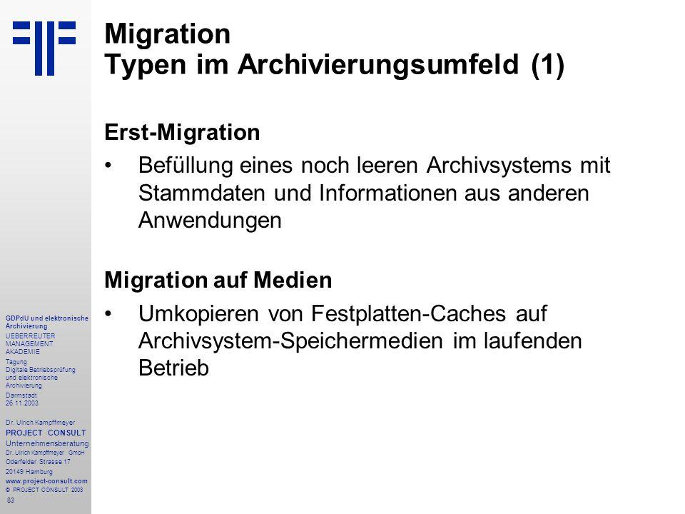 83 GDPdU und elektronische Archivierung UEBERREUTER MANAGEMENT AKADEMIE Tagung Digitale Betriebsprüfung und elektronische Archivierung Darmstadt 26.11