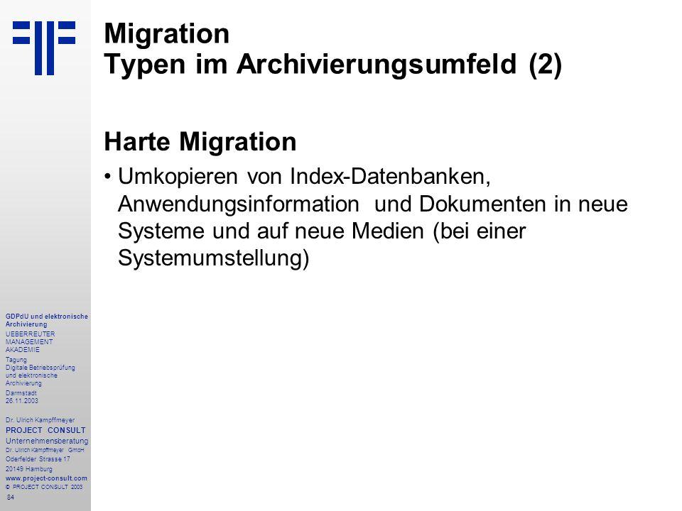 84 GDPdU und elektronische Archivierung UEBERREUTER MANAGEMENT AKADEMIE Tagung Digitale Betriebsprüfung und elektronische Archivierung Darmstadt 26.11