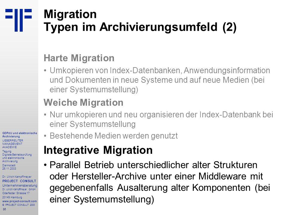 86 GDPdU und elektronische Archivierung UEBERREUTER MANAGEMENT AKADEMIE Tagung Digitale Betriebsprüfung und elektronische Archivierung Darmstadt 26.11