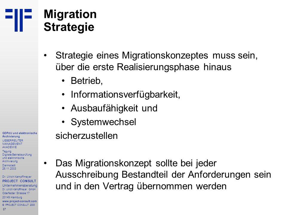 87 GDPdU und elektronische Archivierung UEBERREUTER MANAGEMENT AKADEMIE Tagung Digitale Betriebsprüfung und elektronische Archivierung Darmstadt 26.11