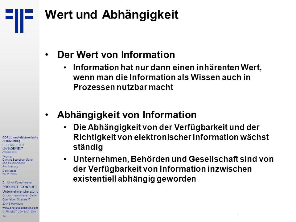 89 GDPdU und elektronische Archivierung UEBERREUTER MANAGEMENT AKADEMIE Tagung Digitale Betriebsprüfung und elektronische Archivierung Darmstadt 26.11