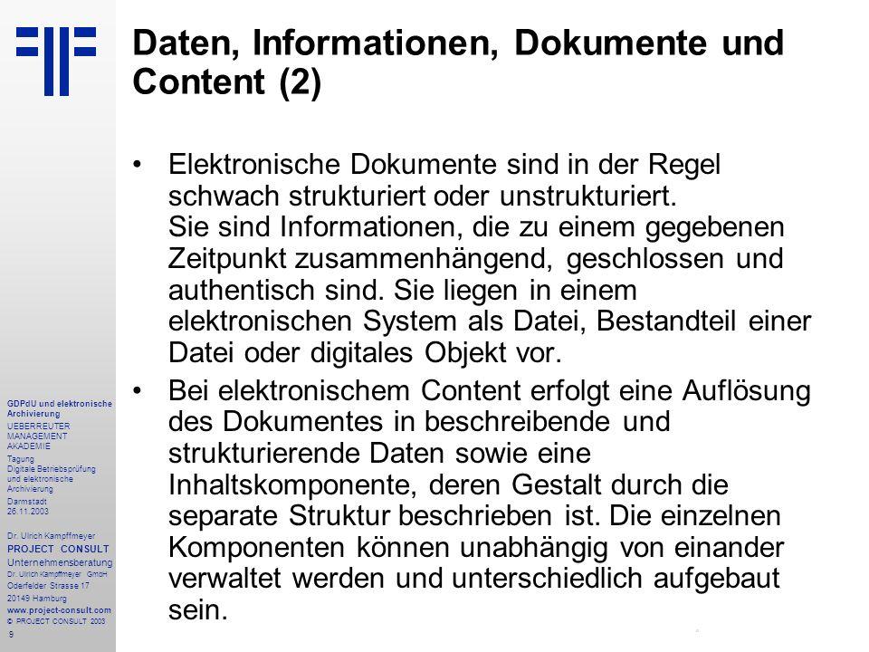 9 GDPdU und elektronische Archivierung UEBERREUTER MANAGEMENT AKADEMIE Tagung Digitale Betriebsprüfung und elektronische Archivierung Darmstadt 26.11.