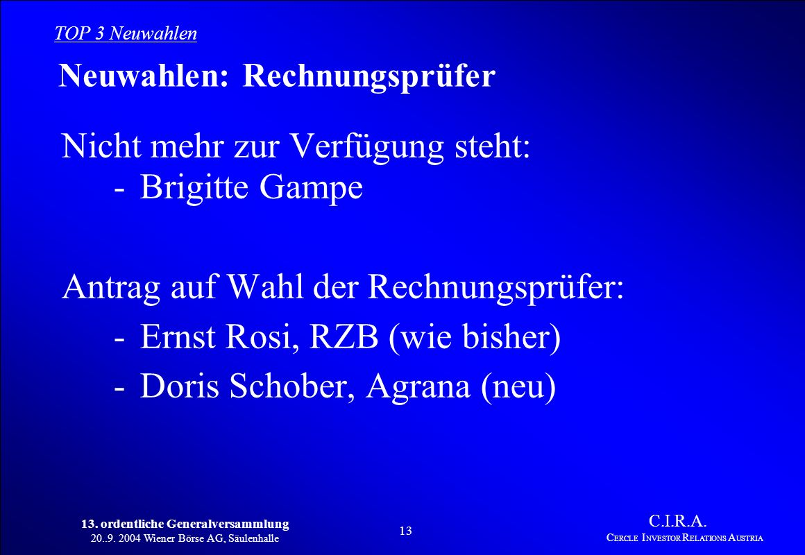 13. ordentliche Generalversammlung 20..9. 2004 Wiener Börse AG, Säulenhalle 12 C.I.R.A. C ERCLE I NVESTOR R ELATIONS A USTRIA Bericht der Rechnungsprü