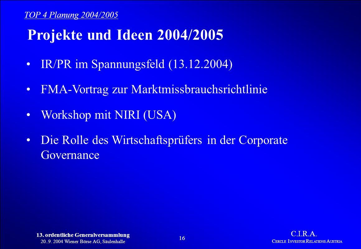 13. ordentliche Generalversammlung 20..9. 2004 Wiener Börse AG, Säulenhalle 15 C.I.R.A. C ERCLE I NVESTOR R ELATIONS A USTRIA Projekte und Ideen 2004/