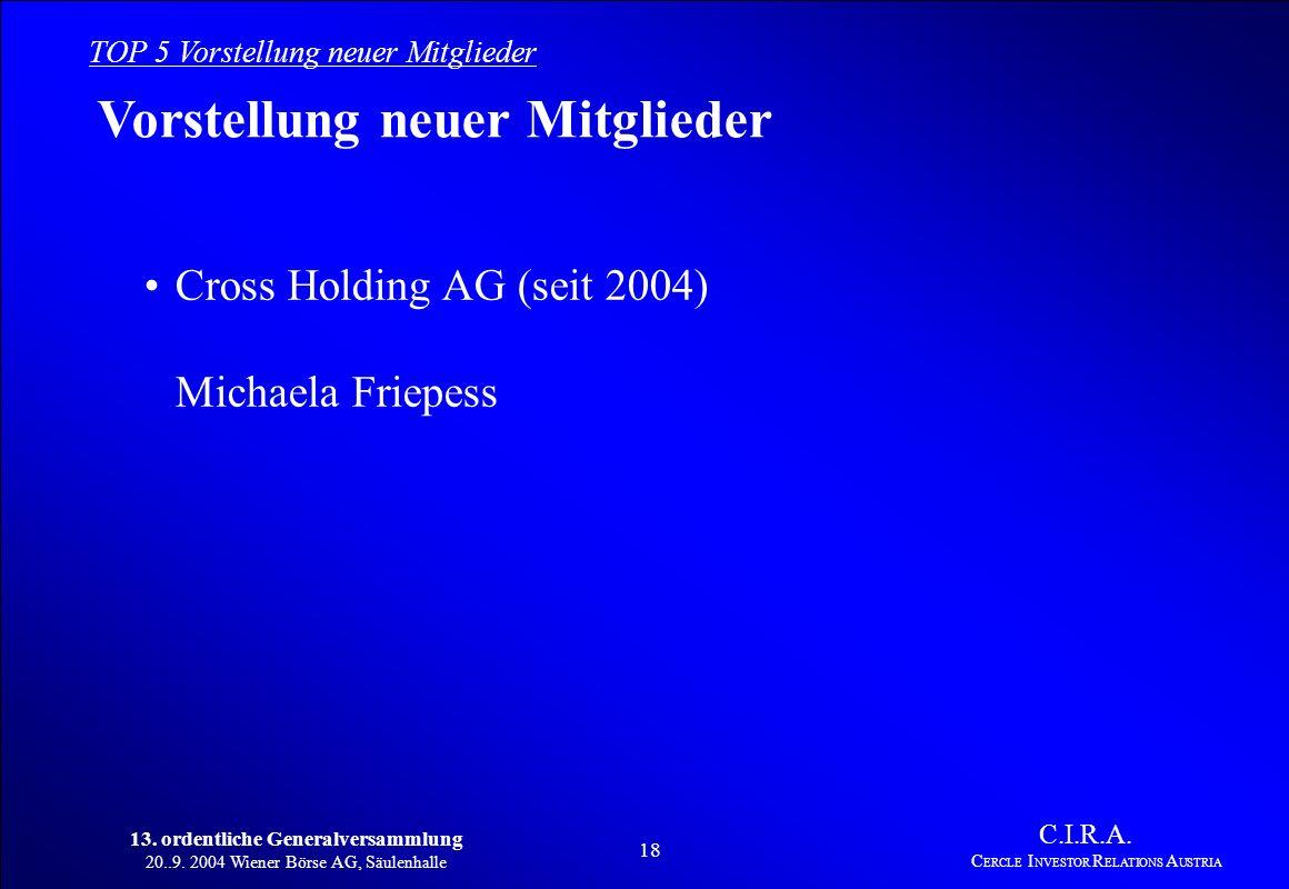 13. ordentliche Generalversammlung 20..9. 2004 Wiener Börse AG, Säulenhalle 17 C.I.R.A. C ERCLE I NVESTOR R ELATIONS A USTRIA TOP 4 Planung 2003/2004