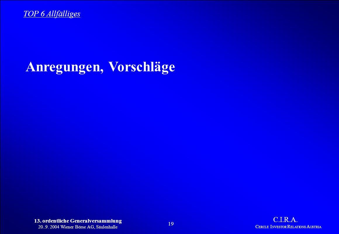 13. ordentliche Generalversammlung 20..9. 2004 Wiener Börse AG, Säulenhalle 18 C.I.R.A. C ERCLE I NVESTOR R ELATIONS A USTRIA TOP 5 Vorstellung neuer