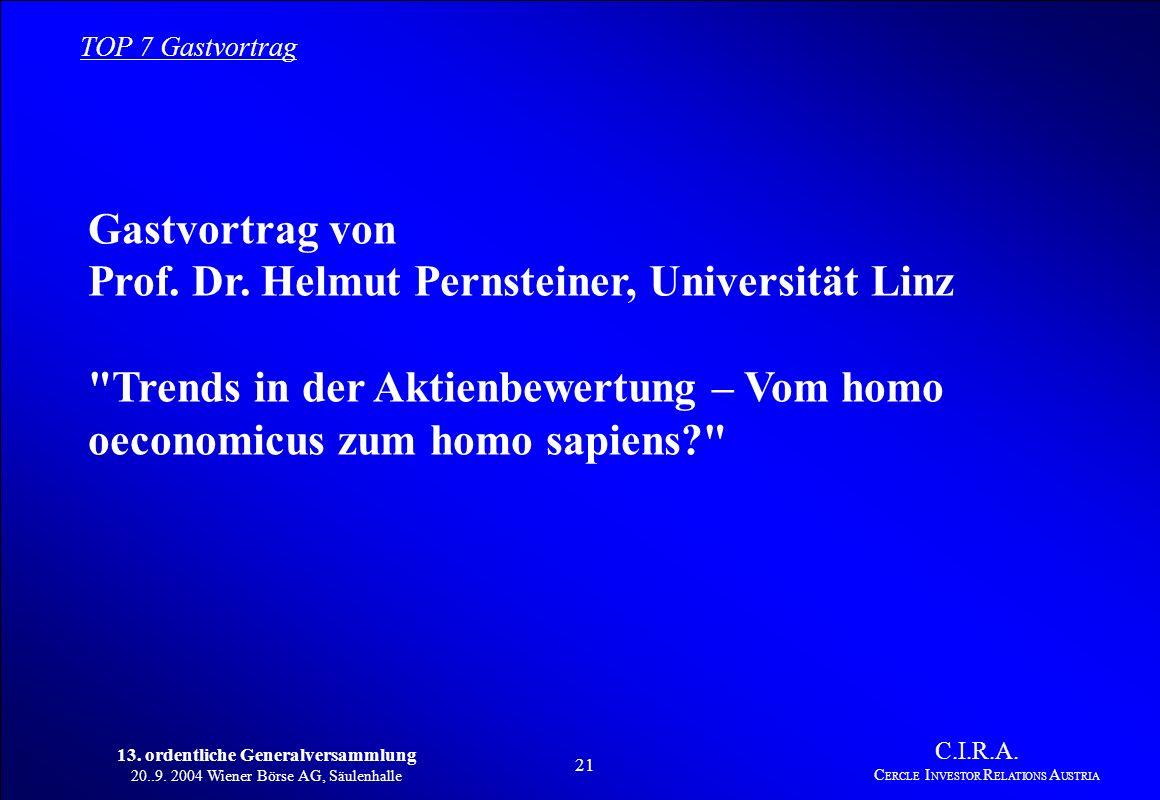 13. ordentliche Generalversammlung 20..9. 2004 Wiener Börse AG, Säulenhalle 20 C.I.R.A. C ERCLE I NVESTOR R ELATIONS A USTRIA Ergebnis der Vorstandswa