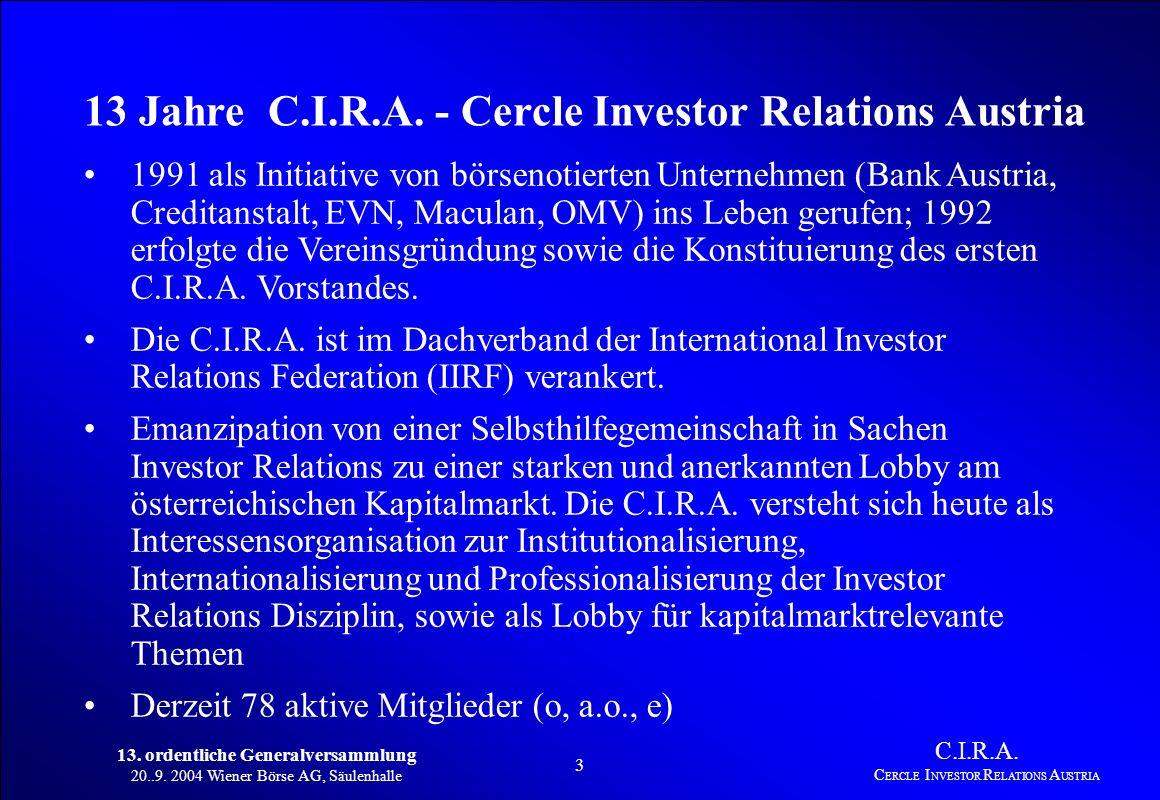13. ordentliche Generalversammlung 20..9. 2004 Wiener Börse AG, Säulenhalle 2 C.I.R.A. C ERCLE I NVESTOR R ELATIONS A USTRIA 1. Bericht des Vorstandes