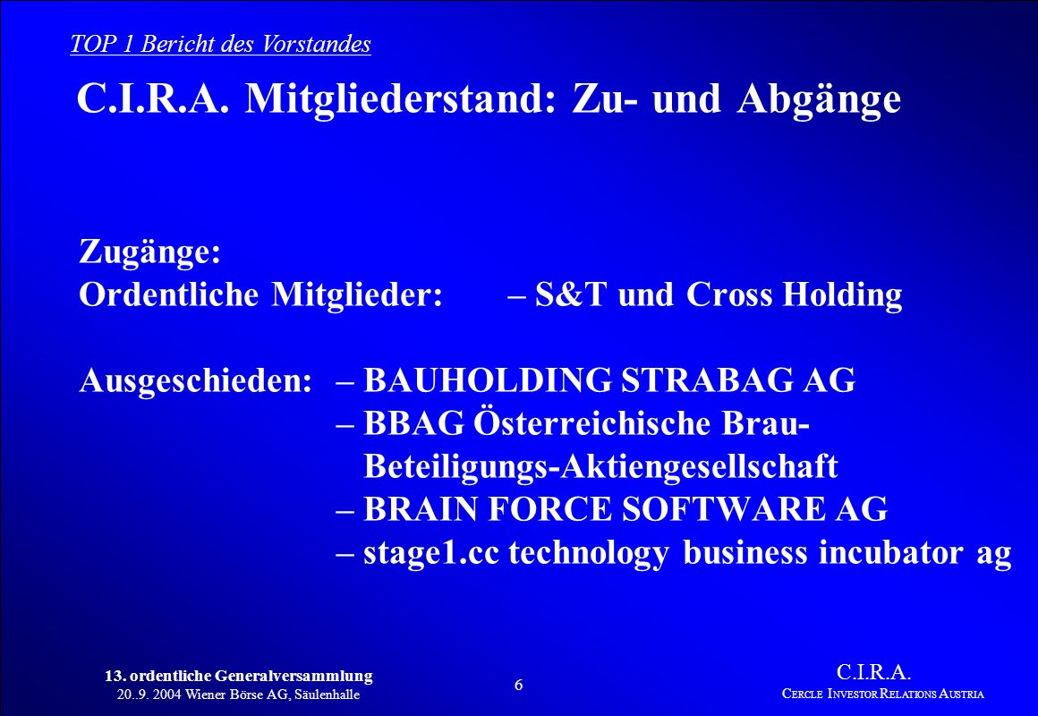 13. ordentliche Generalversammlung 20..9. 2004 Wiener Börse AG, Säulenhalle 5 C.I.R.A. C ERCLE I NVESTOR R ELATIONS A USTRIA TOP 1 Bericht des Vorstan