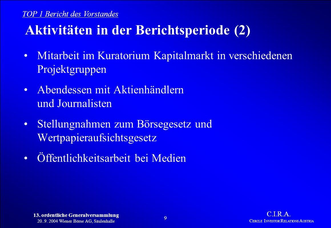 13. ordentliche Generalversammlung 20..9. 2004 Wiener Börse AG, Säulenhalle 8 C.I.R.A. C ERCLE I NVESTOR R ELATIONS A USTRIA Aktivitäten in der Berich