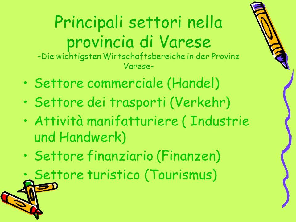 Principali settori nella provincia di Varese -Die wichtigsten Wirtschaftsbereiche in der Provinz Varese- Settore commerciale (Handel) Settore dei tras