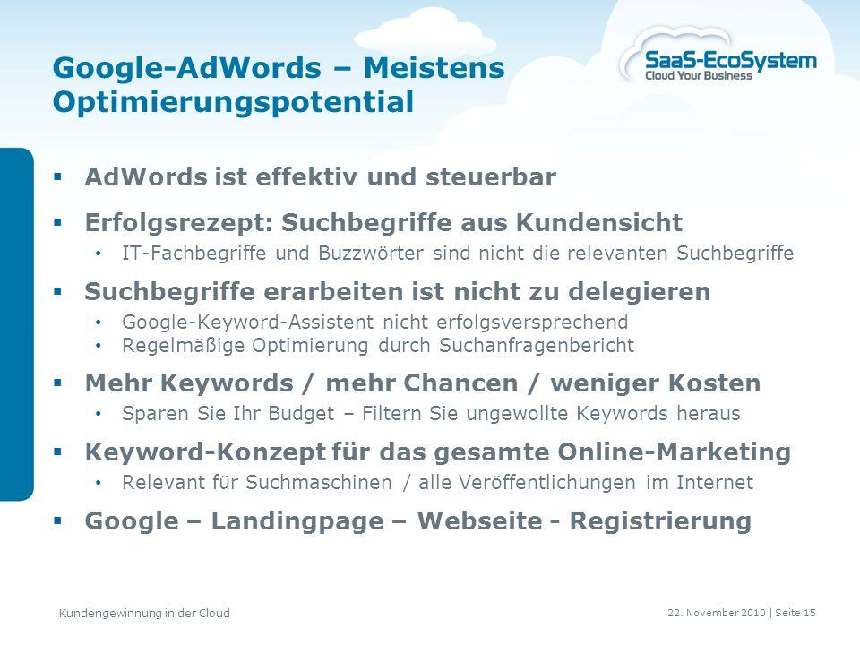 22. November 2010 | Seite 16 Kundengewinnung in der Cloud Online Kunden gewinnen } > > @ @