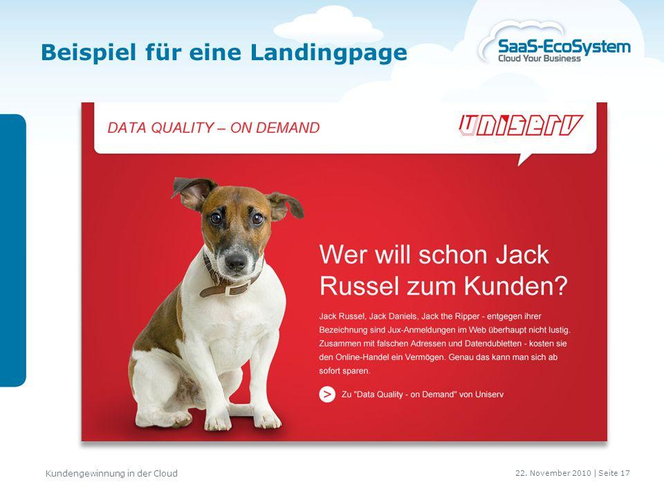22. November 2010 | Seite 18 Kundengewinnung in der Cloud Beispiel für eine Webseite