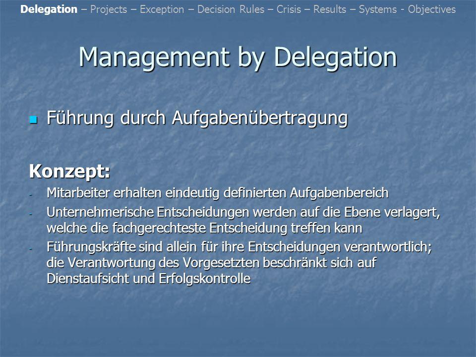 Resümee: Resümee: Es ist ersichtlich, dass aus der Optimierung von Verwaltungsabläufen in Verbindung mit der Führungskonzeption Management by Systems insbesondere eine Qualitätssteigerung der Verwaltungsabläufe sowie regelmäßig auch eine Senkung der Verwaltungskosten erreicht werden kann.