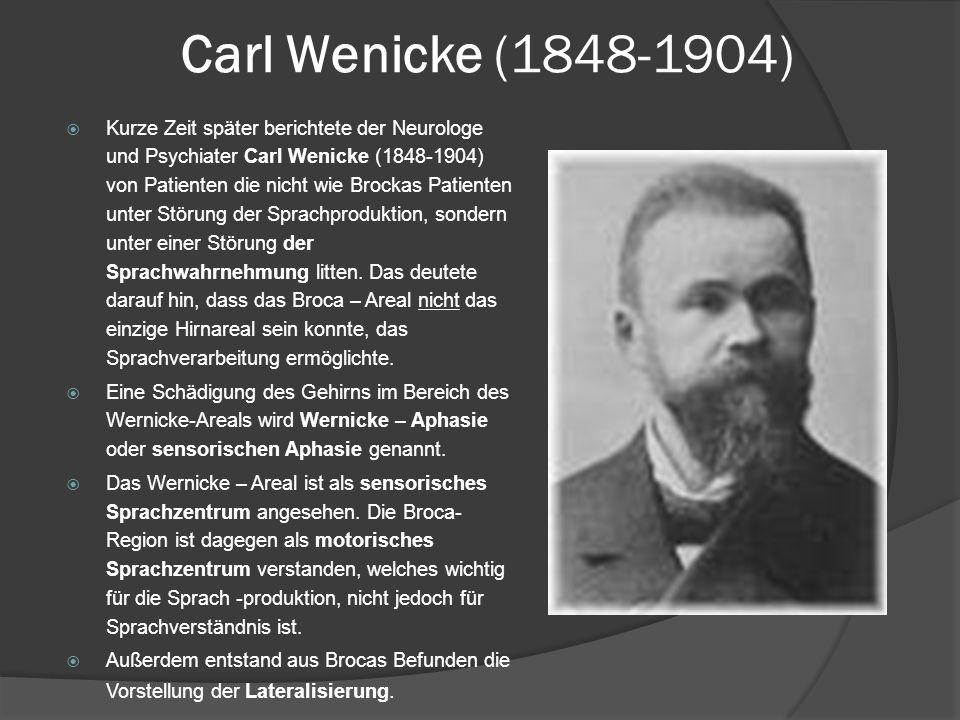 Carl Wenicke (1848-1904) Kurze Zeit später berichtete der Neurologe und Psychiater Carl Wenicke (1848-1904) von Patienten die nicht wie Brockas Patien