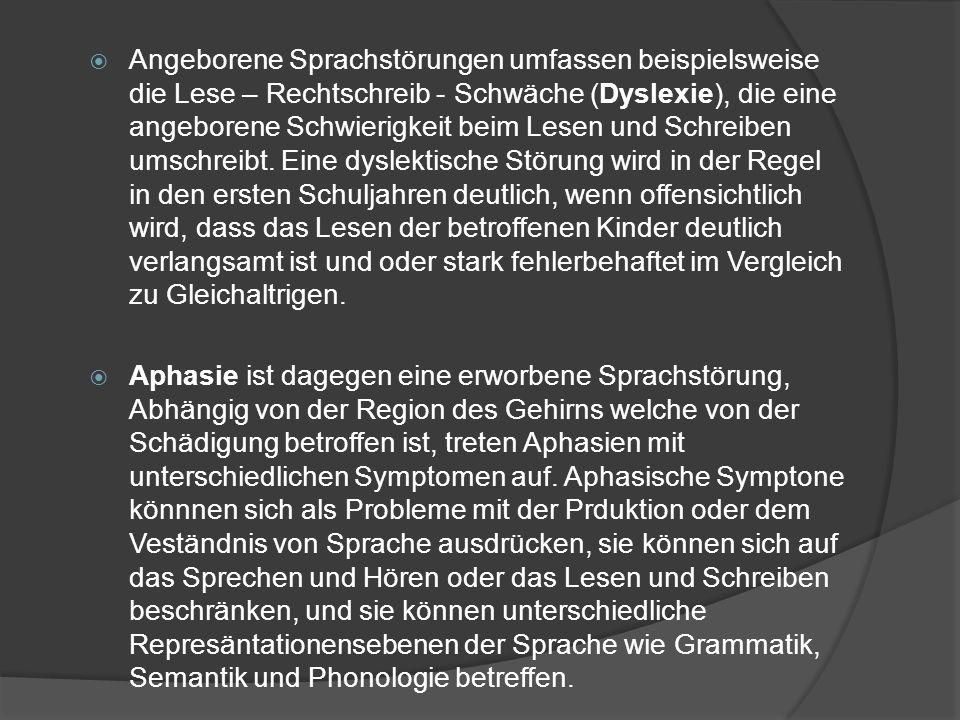 Angeborene Sprachstörungen umfassen beispielsweise die Lese – Rechtschreib - Schwäche (Dyslexie), die eine angeborene Schwierigkeit beim Lesen und Sch