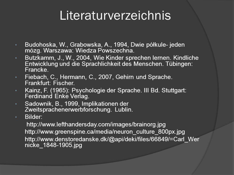 Literaturverzeichnis Budohoska, W., Grabowska, A., 1994, Dwie półkule- jeden mózg. Warszawa: Wiedza Powszechna. Butzkamm, J., W., 2004, Wie Kinder spr