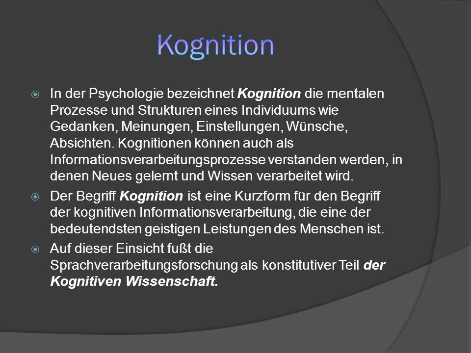 In der Psychologie bezeichnet Kognition die mentalen Prozesse und Strukturen eines Individuums wie Gedanken, Meinungen, Einstellungen, Wünsche, Absich