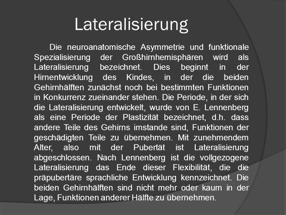 Lateralisierung Die neuroanatomische Asymmetrie und funktionale Spezialisierung der Großhirnhemisphären wird als Lateralisierung bezeichnet. Dies begi