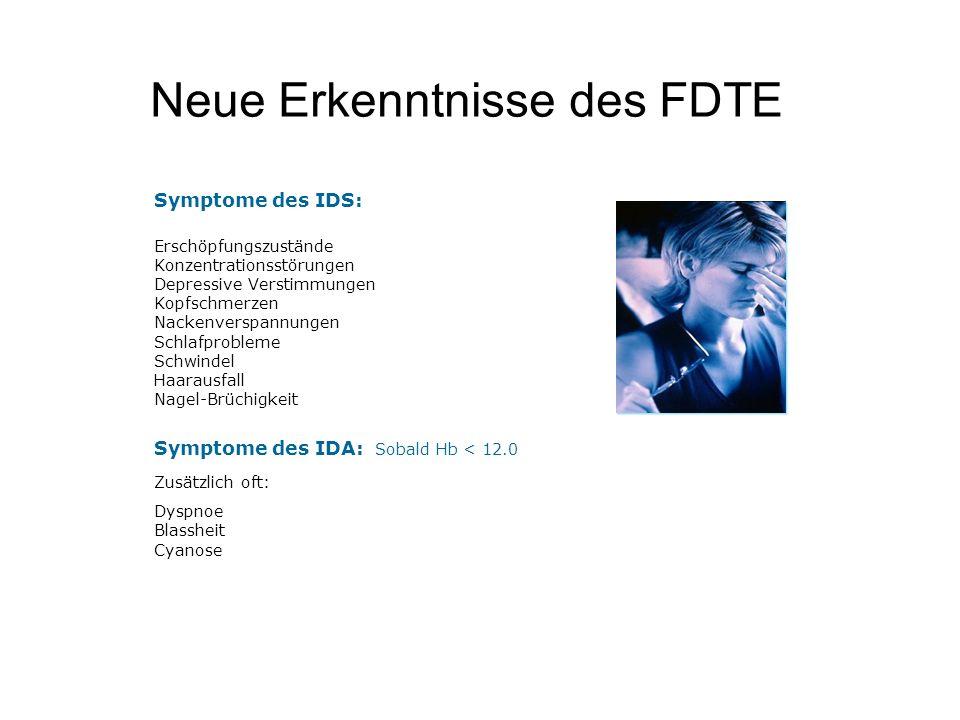 Neue Erkenntnisse des FDTE Symptome des IDS: Erschöpfungszustände Konzentrationsstörungen Depressive Verstimmungen Kopfschmerzen Nackenverspannungen S