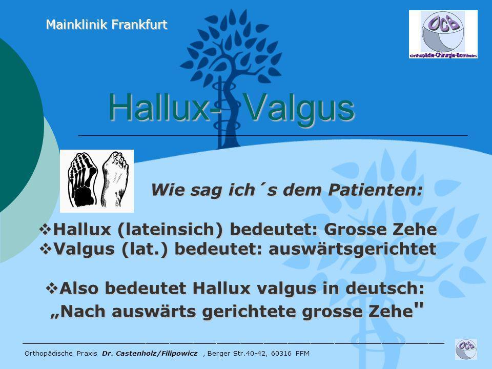 Hallux- Valgus Hallux- Valgus ______________________________________________________ Orthopädische Praxis Dr. Castenholz/Filipowicz, Berger Str.40-42,