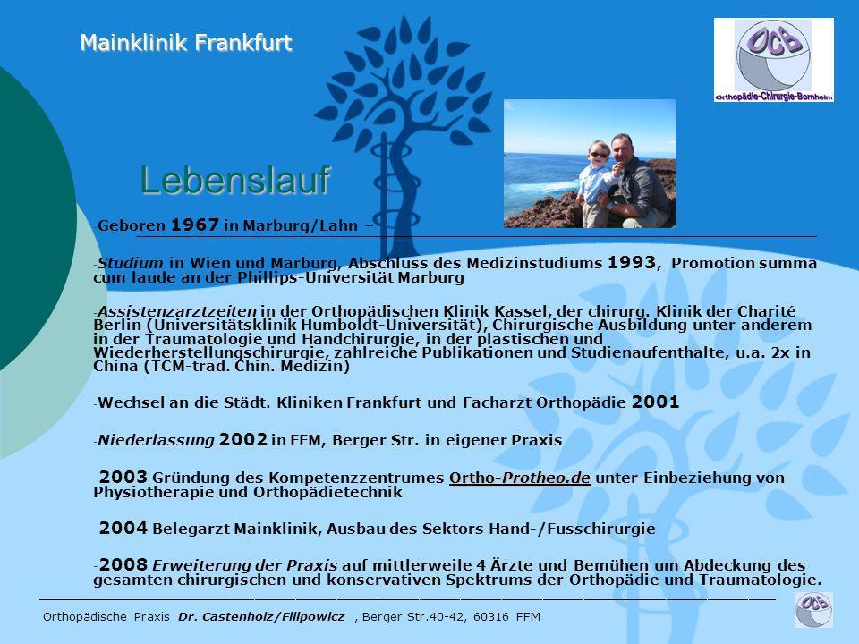Lebenslauf Lebenslauf - Geboren 1967 in Marburg/Lahn – - Studium in Wien und Marburg, Abschluss des Medizinstudiums 1993, Promotion summa cum laude an