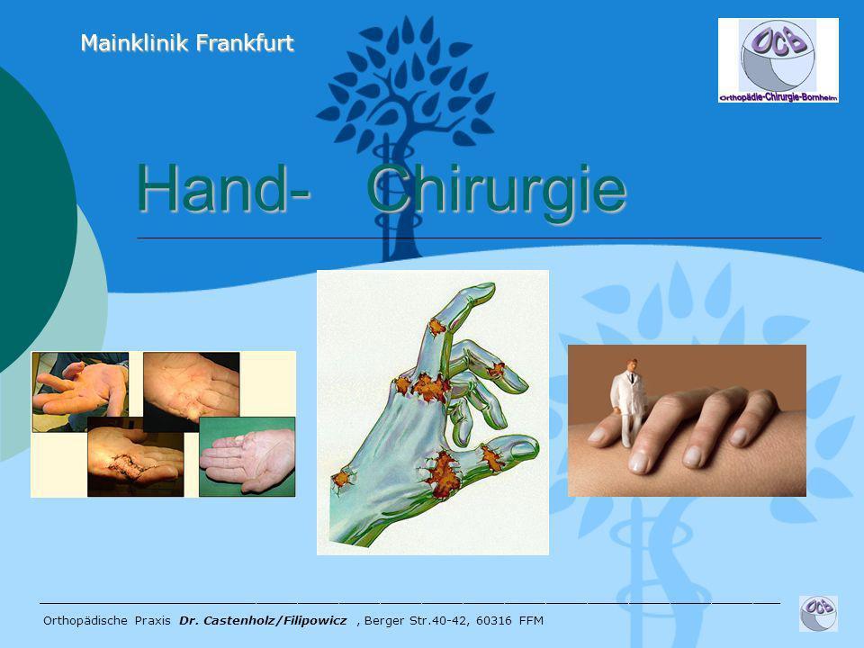 Hand- Chirurgie Hand- Chirurgie ______________________________________________________ Orthopädische Praxis Dr. Castenholz/Filipowicz, Berger Str.40-4