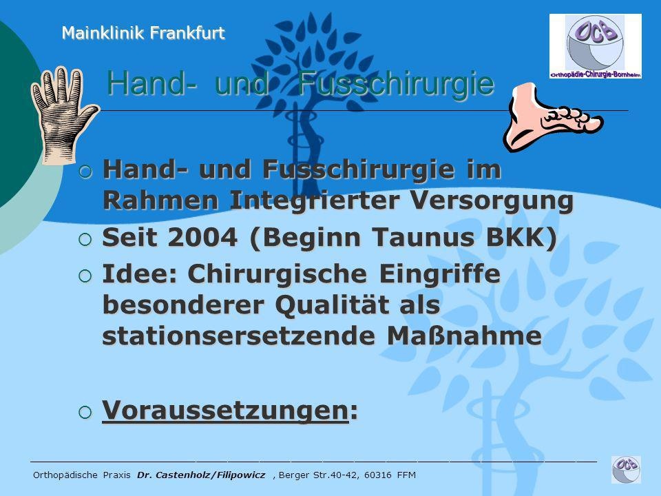 Hand- und Fusschirurgie Hand- und Fusschirurgie im Rahmen Integrierter Versorgung Hand- und Fusschirurgie im Rahmen Integrierter Versorgung Seit 2004