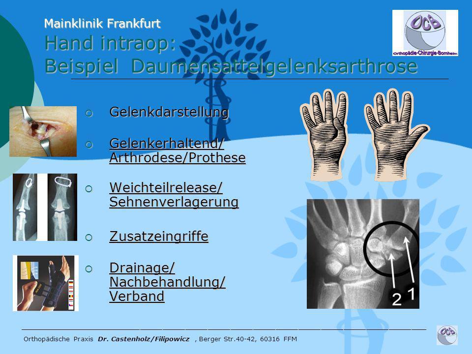 Gelenkdarstellung Gelenkdarstellung Gelenkerhaltend/ Arthrodese/Prothese Gelenkerhaltend/ Arthrodese/Prothese Weichteilrelease/ Sehnenverlagerung Weic