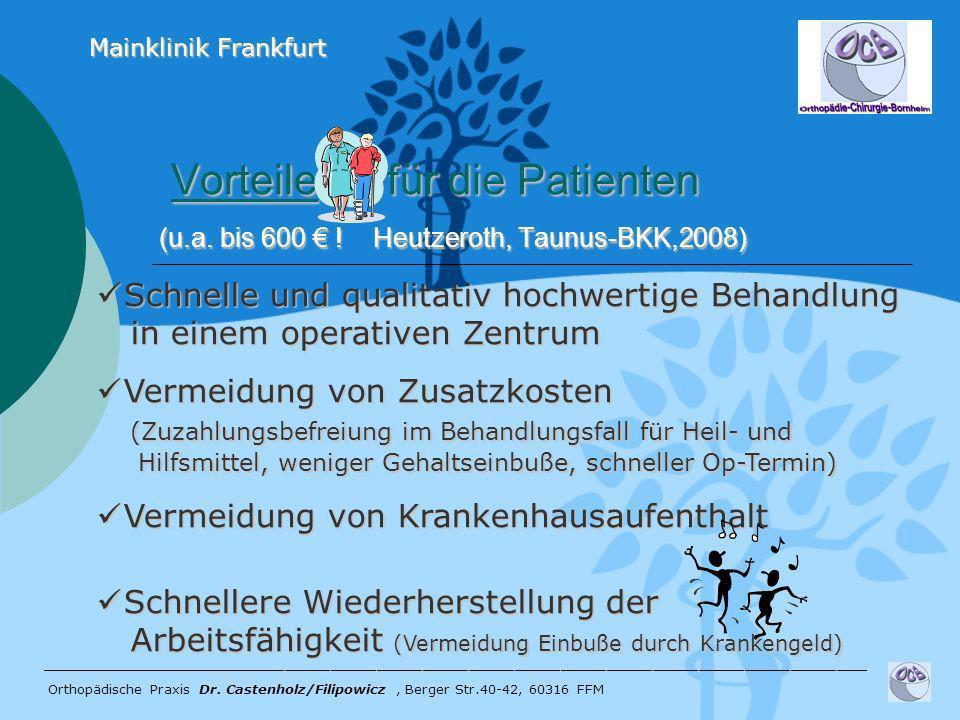 Vorteile für die Patienten (u.a. bis 600 ! Heutzeroth, Taunus-BKK,2008) Vorteile für die Patienten (u.a. bis 600 ! Heutzeroth, Taunus-BKK,2008) ______
