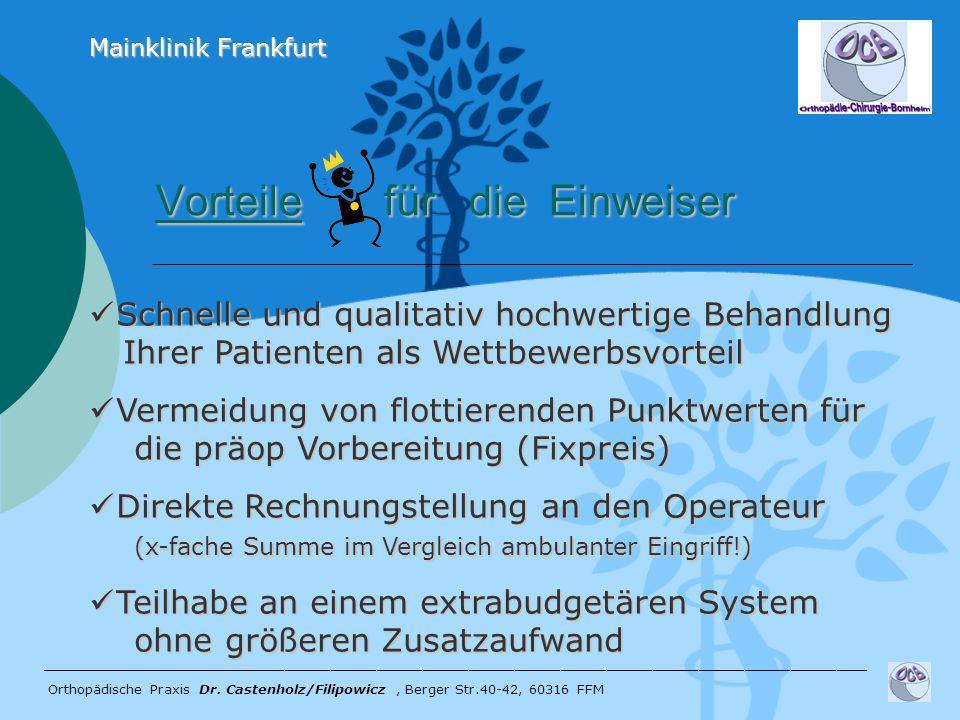Vorteile für die Einweiser Vorteile für die Einweiser ______________________________________________________ Orthopädische Praxis Dr. Castenholz/Filip