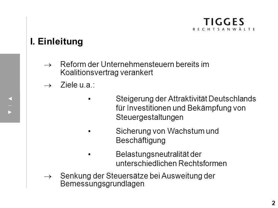 Reform der Unternehmensteuern bereits im Koalitionsvertrag verankert Ziele u.a.: Steigerung der Attraktivität Deutschlands für Investitionen und Bekäm