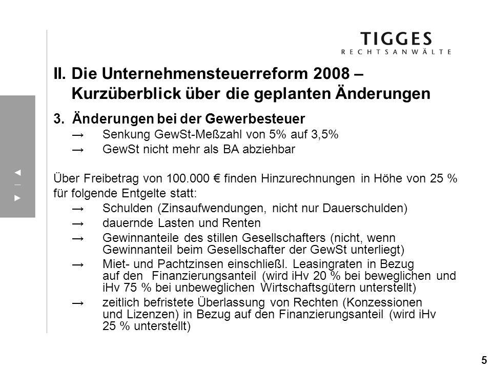 3. Änderungen bei der Gewerbesteuer Senkung GewSt-Meßzahl von 5% auf 3,5% GewSt nicht mehr als BA abziehbar Über Freibetrag von 100.000 finden Hinzure