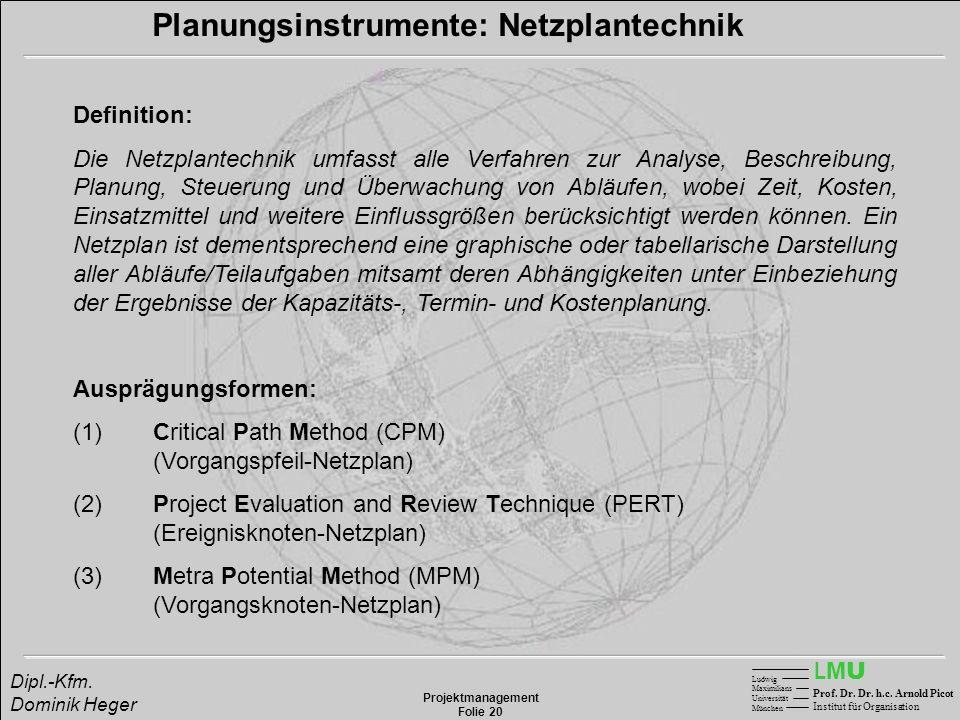 LMULMU Ludwig Maximilians Universität München Prof. Dr. Dr. h.c. Arnold Picot Institut für Organisation Projektmanagement Folie 20 Dipl.-Kfm. Dominik
